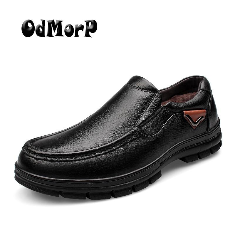 ODMORP Men Winter Shoes Warm Fur Black Genuine Leather Formal Business Man Shoes Brown Oxfords Slip On Shoes For Men Big Size 47
