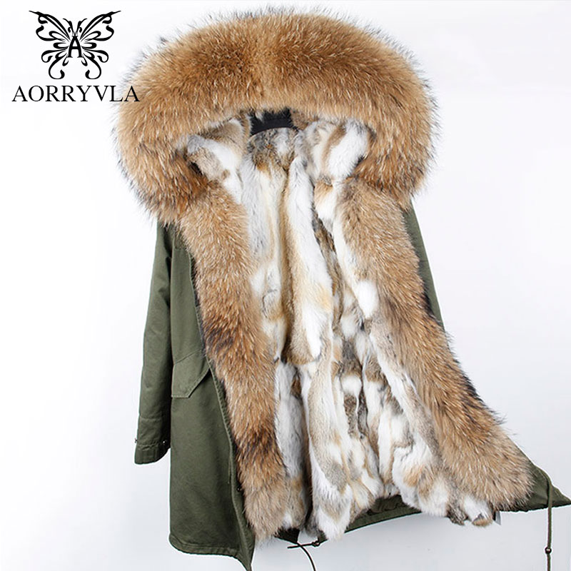 AORRYVLA 2018 Winter New Women Fur   Parka   Natural Raccoon Fur Hooded Long Coat Real Rabbit Lining Casual Female Warm   Parka