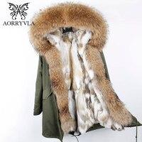AORRYVLA 2018 зимняя новая женская меховая парка натуральный мех енота с капюшоном длинное пальто с натуральным кроличьим мехом подкладка Повсед