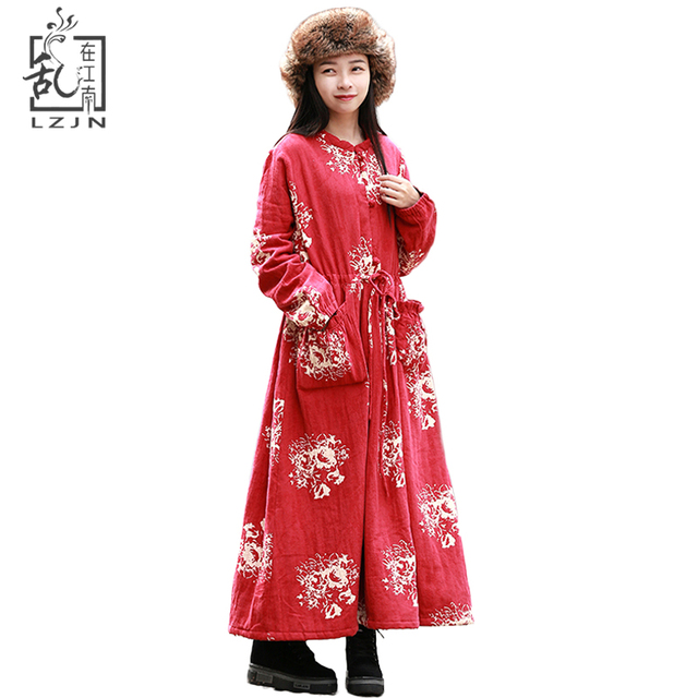 f367d2a108 Mori Girl Red Winter Dress Women Long Sleeve Fleece Maxi Dresses Cotton  Linen Gown Waist Belt Shirt Dress Robe Hiver Kaftan