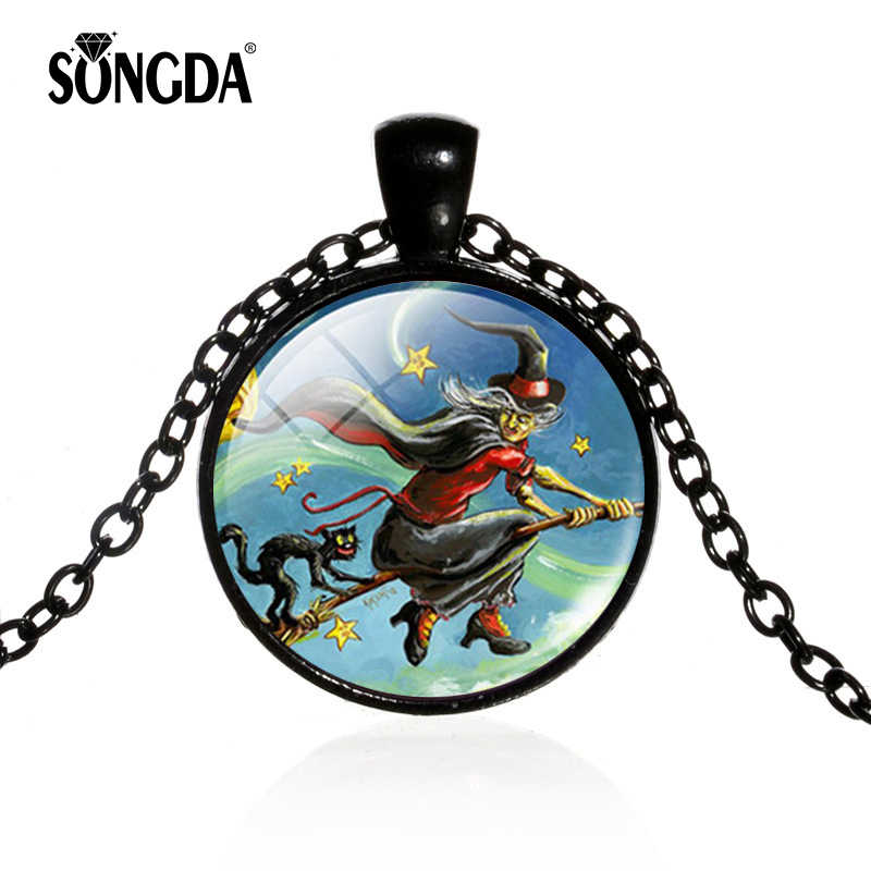 SONGDA Newest Halloween Series Necklace Flying Witch and Cat Pumpkin Lamp Dark Deep Forest Poster Gem Fashion Decorative Jewelry