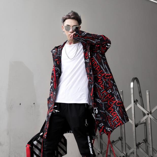 2020 nouveau Hip hop rue mode rue lettre impression longue trench manteau veste hommes ample à capuche veste hommes pardessus chanteur - 4