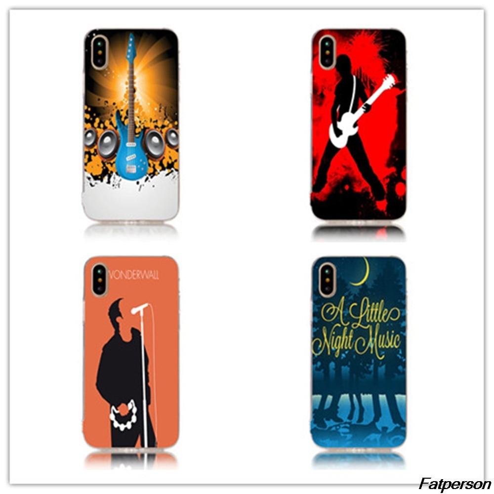Rock Music Guitar Hard Transparent plastic phone Case Cover Coque For Apple iPhone 7 7plus 8 6splus 6s 6plus 6 5 5s 5c 4s cases