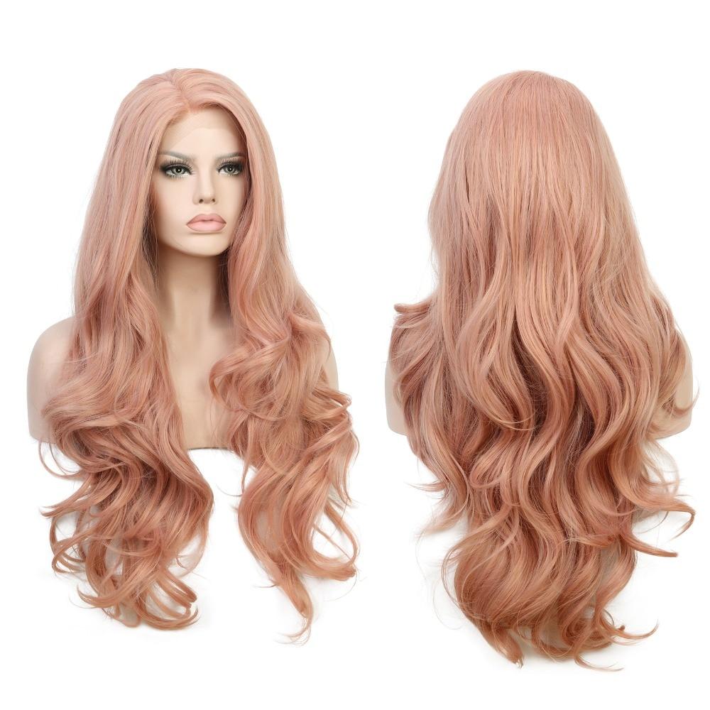 Blandat persika Rosa Naturvåg Syntetisk Spets Fram Paryk Glueless - Syntetiskt hår - Foto 3