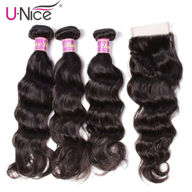 UNice Hair Icenu Remy Hair Series Natural Wave Brazilian Hair Weave Bundles Lace Closure 4 PCS