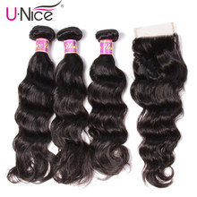 UNice Hair Icenu Remy Hair Series Natural Wave Brazilian Hair Weave Bundles Lace Closure 4 PCS Human Hair Bundles With Closure(China)