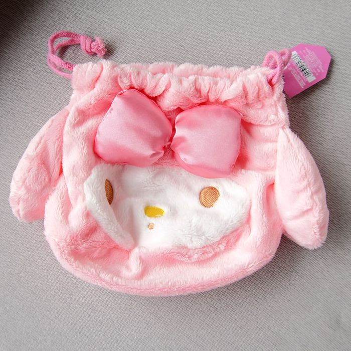 1pc Cute My Melody Cinnamoroll Dog Plush Embroidery Drawstring Bags Cosmetic Bags Kids Gifts Toys Collection