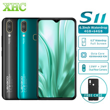"Original leagoo s11 android 9.0 lte 4g smartphone 6.3 ""waterdrop display 4 gb 64 gb helio p22 13mp duplo sim impressão digital smartphone"