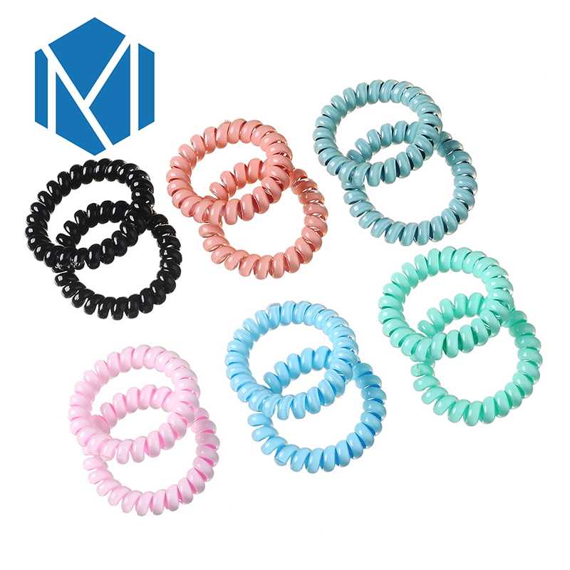 M MISM 1pair Candy Color Telephone Wire Line Cord Ponytail Holder Scrunchy Headband Gum Woman Hair Accessories Hair Ring Band