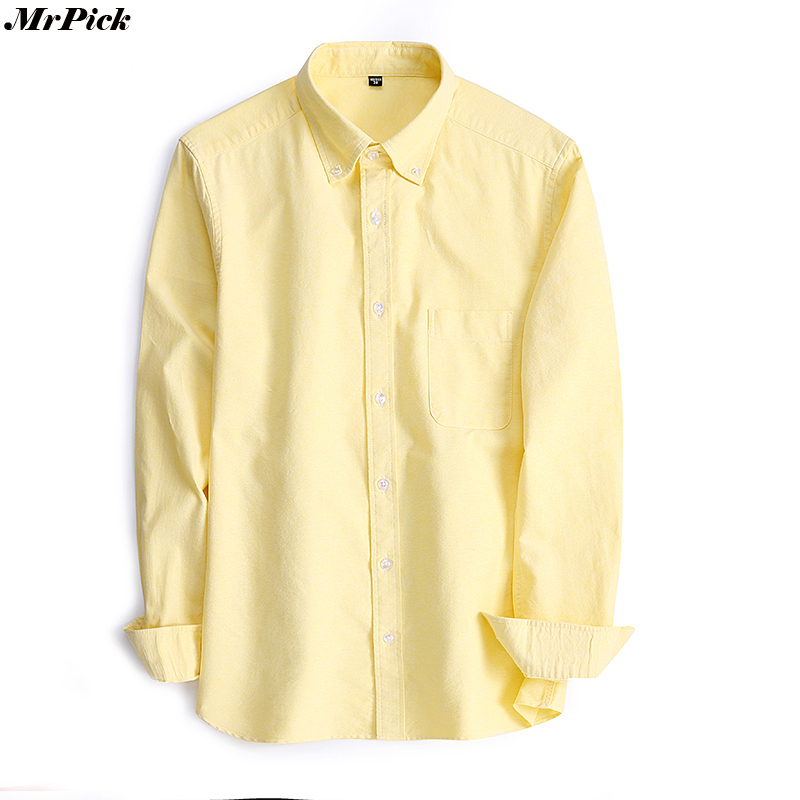 100% Cotton Mens Oxford Solid Dress Shirts Fashion Casual Designer Brand Long Sleeve Shi ...