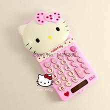 2016 New 8 digit mini solar pink cute hello kitty calculator wholesale Sliding design solar calculator no voice L13cm* W6cm