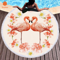 Pink Flamingos Microfiber Large Round Beach Towel Toalla Microfibra Thick Terry Cloth Tassel Beach Blanket Serviette De Plage
