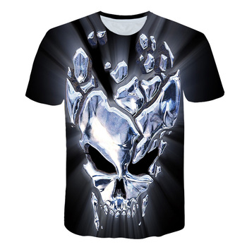 2018 New Fashion T-shirt Glowing skull Print t shirt Men /Women tshirts Summer Funny Short Sleeve O-neck Tops&Tees M-5XL