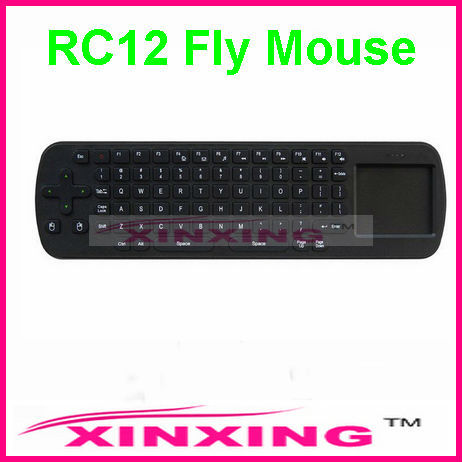 [Factory In Stock] RC12 Mini Fly Air Mouse 2.4GHz Wireless Keyboard for Google Android 4.0 Mini PC TV Palyer Box Free shipping