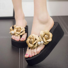 Tangnest Summer Flower Sandals 2017 New High Platform Flip Flops Women Beach Wedge Slippers Increased Shoes Woman 8 Color XWT604