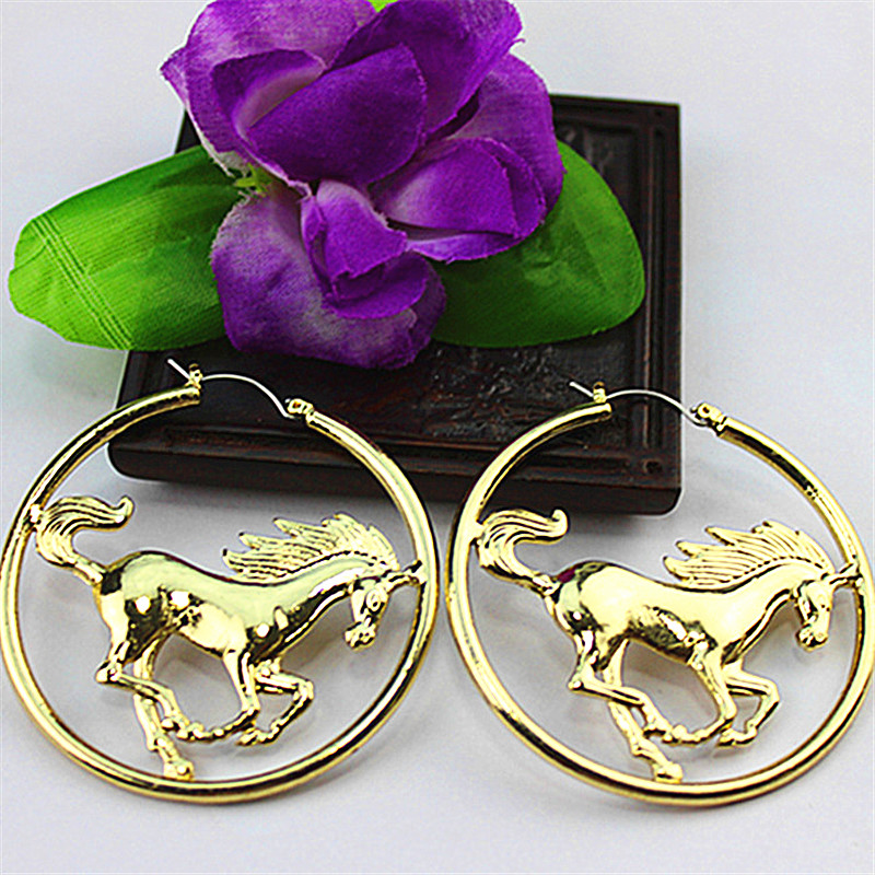 Popular Woman Jewelry Wholesale Girl Birthday Party Gift Horse Round  Girl Personality Earrings Free Shipping!