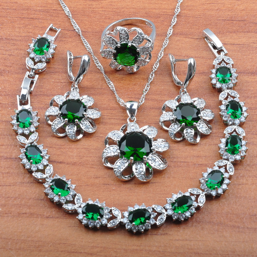 Jewelry-Sets Cubic-Zirconia Flower 925-Sterling-Silver Vintage Green Fashion Women Party