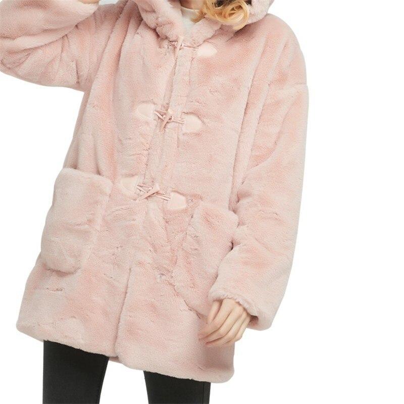 pink Taille Veste Chaud Plus Doux Coréenne Tops Épais Botton Bouton La Lapin Gray Two Botton Hiver Cheveux Capuchon À Chapeau Artificielle Fille Style Femmes A479 Manteau Corne 4Pq5PYw