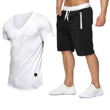 New Men Fashion Two Pieces Sets Slim fit V-neck T Shirts+Shorts Suit Summer Tops Tees street Tshirt men clothing