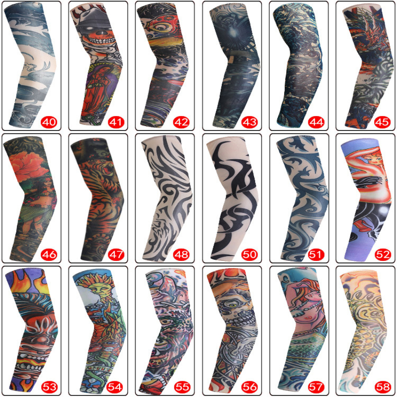 Temporary Fake Tattoo Sleeve Men Women Arm Warmer Designs Summer Sunscreen Arm Sleeves Cover Tattoos Sun UV Protection Elastic