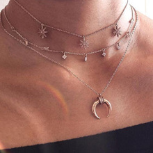 ФОТО hot sale three layers chain moon star rhinestone choker necklaces for women simple pendants boho collar chockers