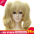 Batman Harley Quinn Women Cosplay Double Ponytail Golden Curly Long Anime Wigs