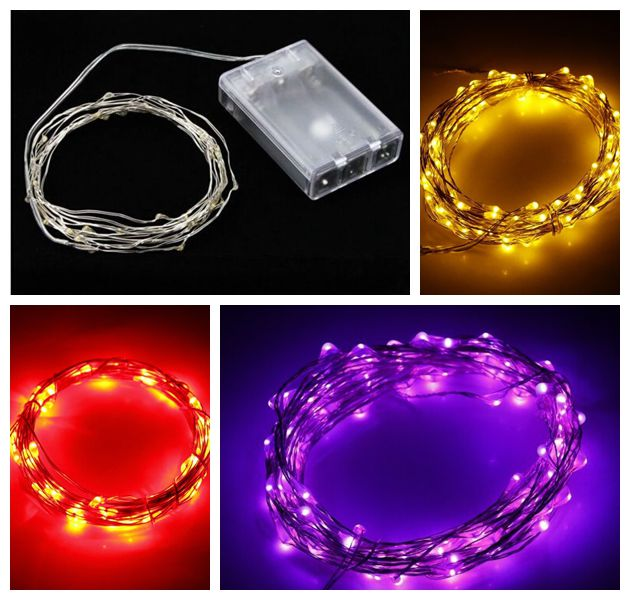 5M 50 Led Light Battery Operated Silver Copper Wire Fairy String Lights For  Christmas Holiday Wedding Party Outdoor Decoration