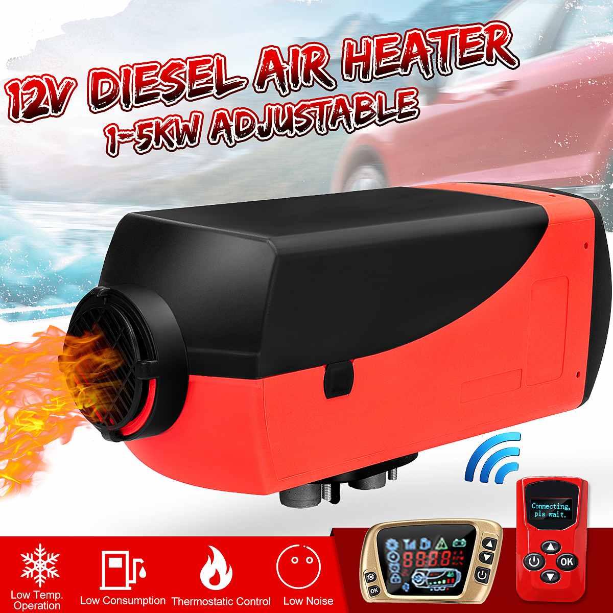 Appareil de chauffage de voiture 12 V 1KW-5KW appareil de chauffage diesel à Air unique réglable + interrupteur à clé LCD + silencieux pour camions, bateau, Bus, remorque pour camping-Car