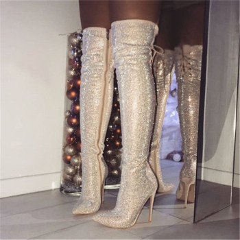 Botines Mujer 2018 New Fashion Runway Bling Crystal Thigh High Boots Women Glitter Pointy Toe Lace Up Over The Boots Shoes Women