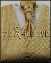 hot sale Men s Dress gold Vest ascot tie Set for Suit
