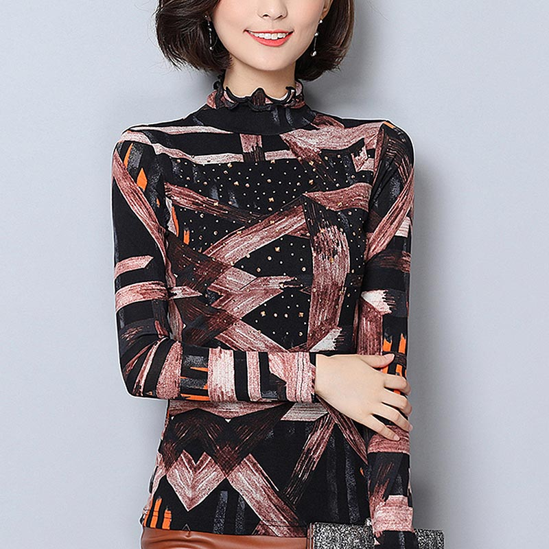 Plus Size 6XL winter women   blouse   tops Fashion thick Warm Ruffles neck long sleeve print mesh   blouse     Shirts   women blusas