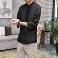 Мужчины Белье Хлопок Рубашка Китай Стиль Лето Свободные Тонкие Случайные Рубашки Высокого Качества Мужской Моды Хип-Хоп Рубашка
