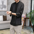 Men Linen Cotton Shirt China Style Summer Loose Thin Casual Shirt High Quality Male Fashion Hiphop Shirt