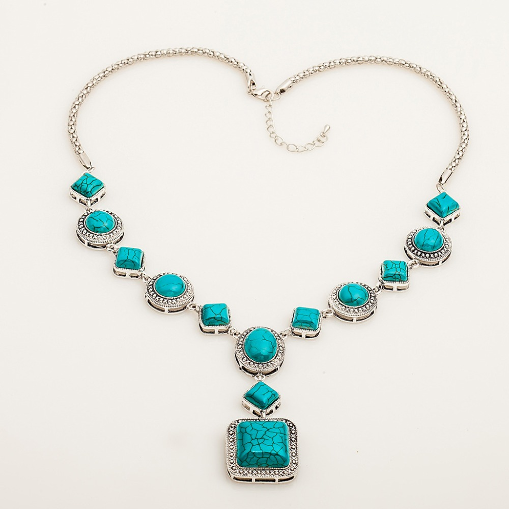 Good Quality Silver Turquoises Necklaces Jewelry