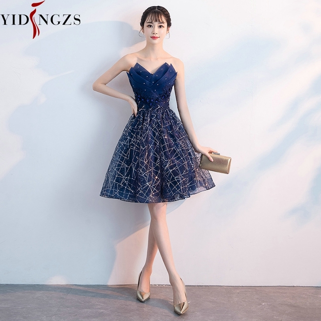 Short Evening Dress YIDINZGS Navy Blue Sequins Pleat V-neck Formal Evening Party Dress 3