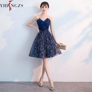 Image 3 - Short Evening Dress YIDINZGS Navy Blue Sequins Pleat V neck Formal Evening Party Dress