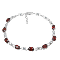 Qi Xuan_Free Shipping Dark Red Stone Little Flower Bracelets_S925 Solid Silver Fashion Bracelet_Manufacturer Directly Sales