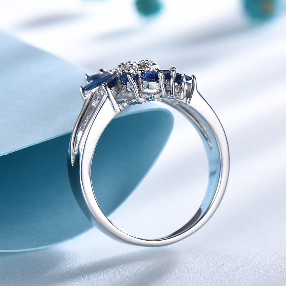 Image 4 - UMCHO Genuine 925 Sterling Silver Ring Gemstone Blue Sapphire Rings for Women Cocktail Flowers Trendy Romantic Gift Fine JewelryRings   -