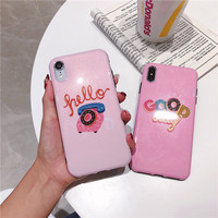 100pcs Case For iPhone 7 6s 6 Case Soft Silicone IMD Pink Cute Cover Phone Cases For iPhone X XS XR XA MAX 7 8 Plus Case 6 6s