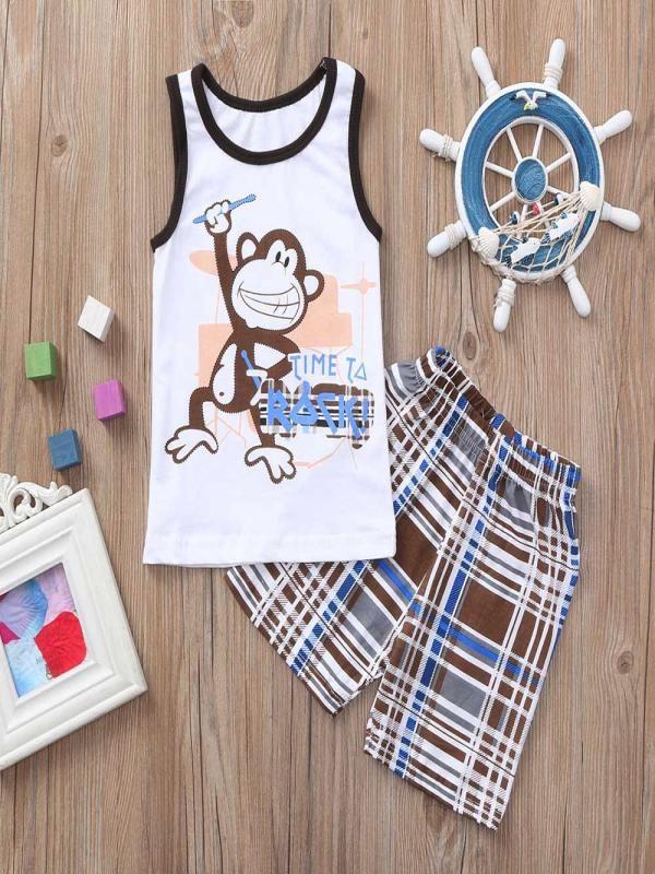 Precise Muqgew Kids Boys Clothes Sets 2pcs Kids Baby Boys Monkey Letter Print Tops+checks Print Pants Outfits Sets Baju Anak#y2 Lovely Luster Boys' Clothing