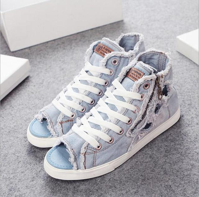 2016 summer new Women shoes hole shoes fashion denim canvas shoes