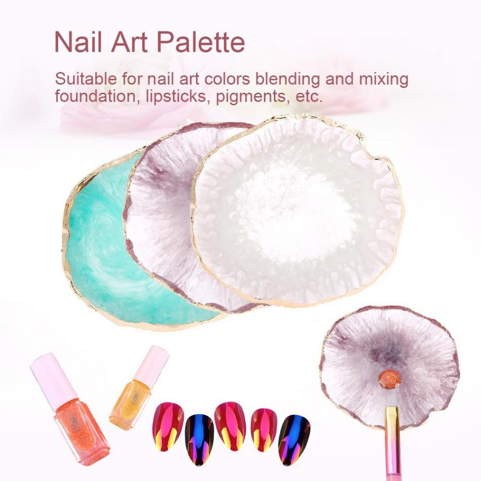 3Color Resin Stone Nail Art Polish Palette Paint Drawing Color Dish Manicure Pedicure Display Board Nail DIY Jewelry Packaging