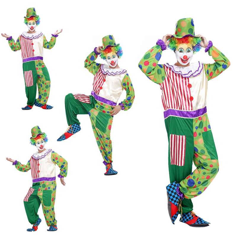 AliExpress shipping Halloween cosplay costume adult clown magic show clothing circus clown costume funny green dot
