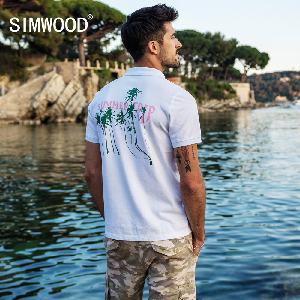 SIMWOOD 2019 Summer New Print   Polo   Shirts Fashion Slim Fit Print Pattern Fashion Tops Plus Size Brand Clothing 180286
