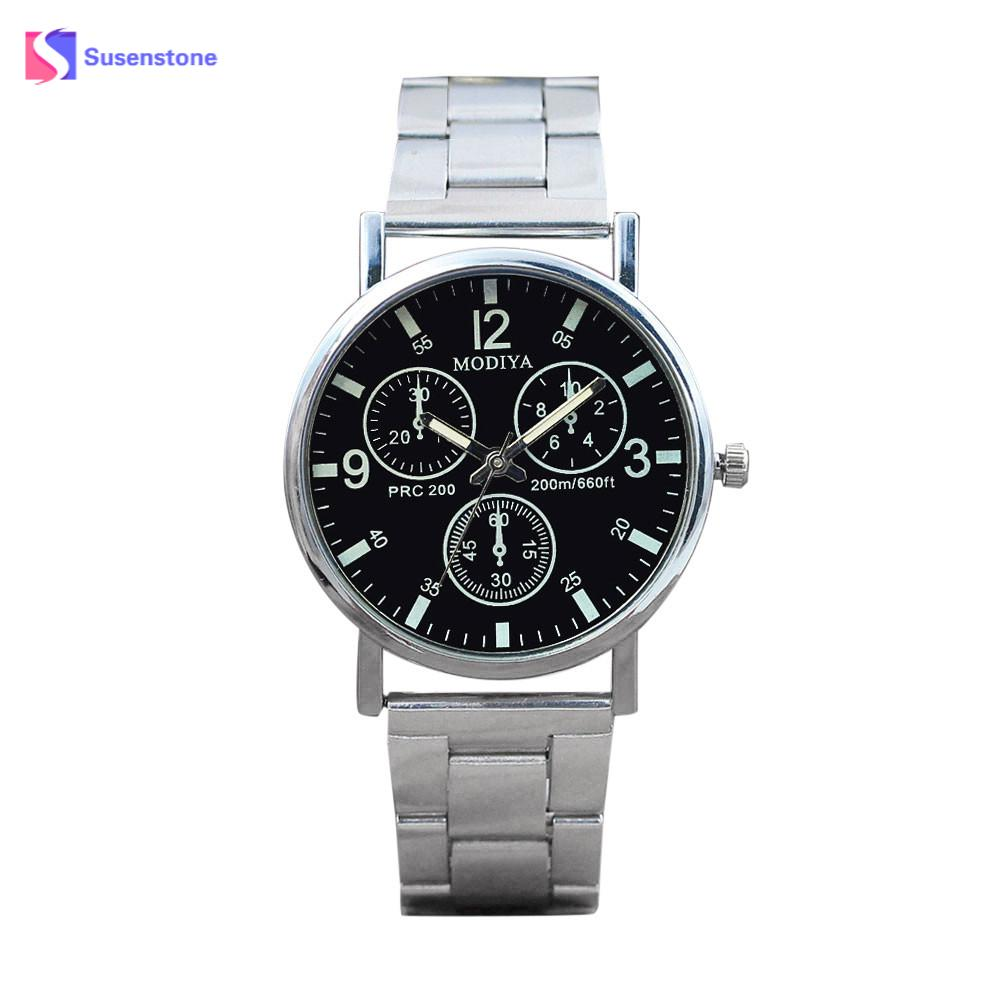 high qualityMans Black Noodles Steel Blue Glow Glass Luxury Quartz Wristwatches Wrist watch Hour Male Clock Relogio Masculino