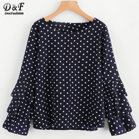 DotfashionTiered Fluted Sleeve Polka Dot Blouse 2017 Navy Long Sleeve Round Neck Cute Top Woman Tunic