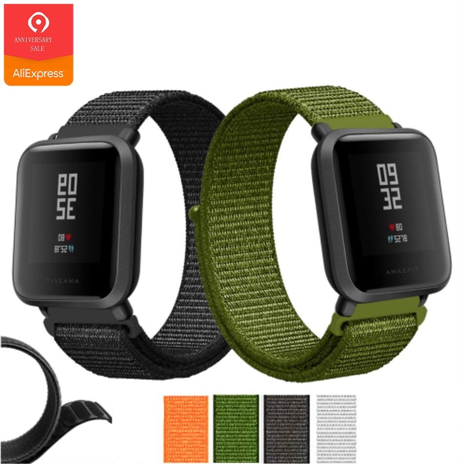 b826e28e71ab YUEDAER deportes correa de Nylon para Xiaomi Amazfit Bip reloj inteligente  banda Negro verde pulsera para Amazfit Bip accesorios palo correas