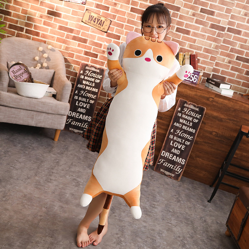 BABIQU 1pc 90cm long Cat Pillow Plush toy soft cushion stuffed animal doll sleep Sofa Bedroom Decor Kawaii Lovely gifts for kids