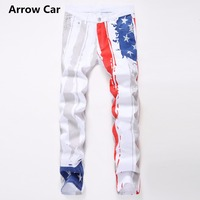 Men's White Printing Jeans American Flag Casual Jeans Men Painted Color Foreign Trade Pattern Tide Fashion Jeans Men Pant