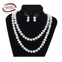Snh ожерелье и серьги ювелирный набор пресноводных Оригинал жемчужина комплект